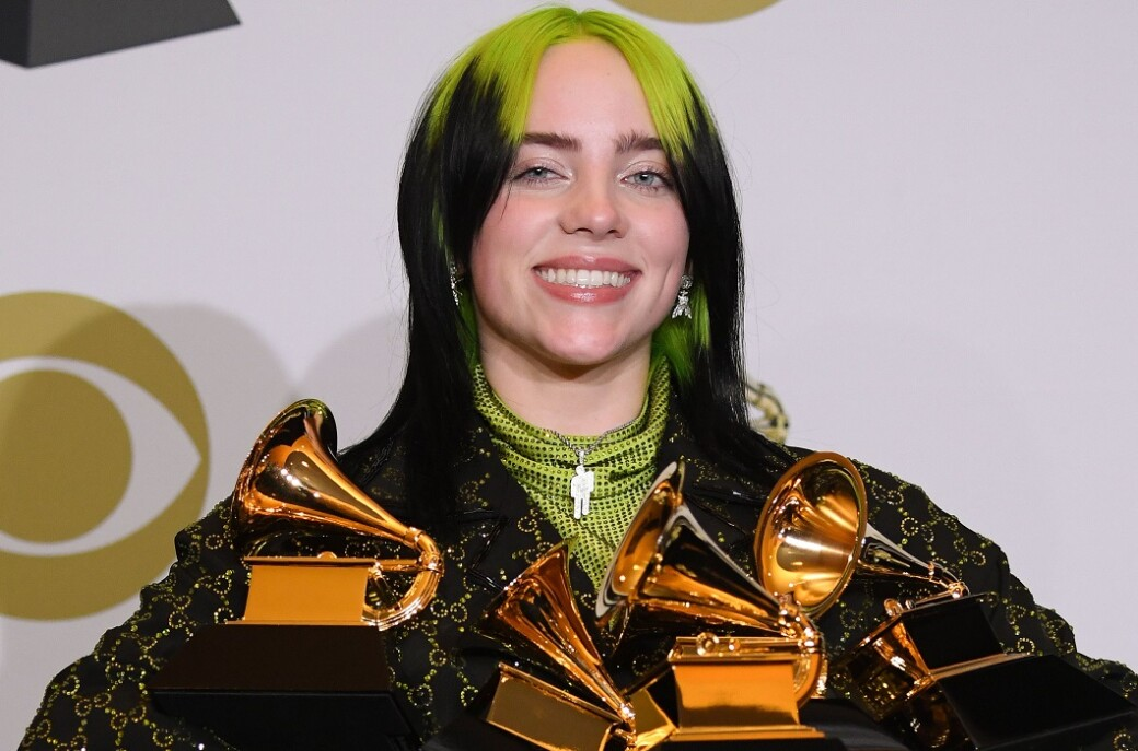 Mandatory Credit: Photo by David Fisher/Shutterstock (10532340br) Billie Eilish with her Grammys for Album of the Year - When We All Fall Asleep, Where Do We Go..., Best New Artist, Best Pop Solo Performance - Bad Guy, Best Pop Vocal Album - When We All Fall Asleep, Where Do We Go and Record of the Year - Bad Guy 62nd Annual Grammy Awards, Press Room, Los Angeles, USA - 26 Jan 2020